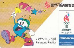 JAPAN - Panasonic, Official Worldwide Sponsor Of The Atlanta 1996 Olympics, NTT Telecard 50 Units(110-011), Used - Jeux Olympiques