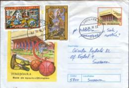 Romania- Postal Stationery Cover 1999 Circulated - Timisoara -The Gymnasium Olimpia - Interi Postali