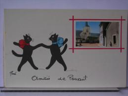 AMITIES DE POUANT (86) - PHOTO EGLISE + ILLUSTRATION RENE - CHATS - Francia