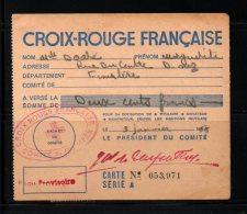 Carte D´adhérent à La CROIX ROUGE  03/01/1955   Bureau Provisoire De QUIMPER (29) - Croix-Rouge