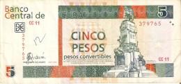 BILLETE DE CUBA DE 5 PESOS CONVERTIBLES DEL A�O 2006  (BANKNOTE)