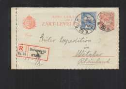 Hungary Registered Letter-Card 1908 To Germany - Hungary