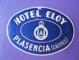 HOTEL RESIDENCIA PENSION HOSTAL ELOY PLASENCIA CACERES SPAIN LUGGAGE LABEL ETIQUETTE AUFKLEBER DECAL STICKER MADRID - Hotel Labels