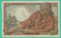 France -  20 Francs -   Pêcheur - N°. W.165 / 76624 - G.29=1=1948.G -  TB+ - 20 F 1942-1950 ''Pêcheur''