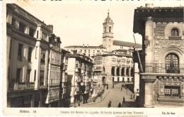 POSTAL    VITORIA   .-20  PAIS VASCO  - CUESTA DEL BANCO DE ESPAÑA - AL FONDO IGLESIA DE SAN VICENTE - Álava (Vitoria)