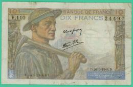 France -  10 Francs -   Minerve - N°. M.83489 / 642 - NR.9=1=1941.NR  -  TB - 1871-1952 Circulated During XXth