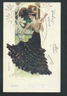 Très Jolie Femme  élégante.  Litho Art-Nouveau. - Illustrators & Photographers