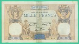 France -  1000 Francs -   Cérès Et Mercure - N°. F.8747 / 345 - 8 Février 1940.AY -  TB - 1871-1952 Circulated During XXth