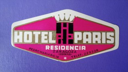 HOTEL RESIDENCIA PENSION HOSTAL PARIS FRANCE ZARAGOZA SPAIN LUGGAGE LABEL ETIQUETTE AUFKLEBER DECAL STICKER MADRID - Hotel Labels