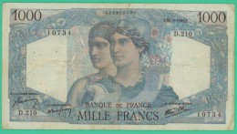 France -  1000 Francs -  Minerve Et Hercule - N°. D.210 / 10734 - S.21-2-1946.S -  TB+ - 1871-1952 Antichi Franchi Circolanti Nel XX Secolo