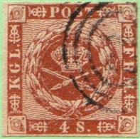 DEN SC #7a  1858 Royal Emblems 4 Margins, Target Cancel, SCV $8.00 - 1851-63 (Frederik VII)
