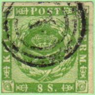 DEN SC #8  1858 Royal Emblems 3+ Margins, Target Cancel, CV $82.50 - 1851-63 (Frederik VII)