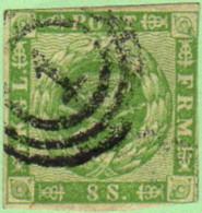 "DEN SC #8  1858 Royal Emblems ""1"" (Kjobenhavn) In Conc. Circs., CV $82.50 - 1851-63 (Frederik VII)"