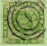 "DEN SC #8  1858 Royal Emblems  4 Margins, ""1"" (Kjobenhavn) In Conc. Circs., W/2 Pinholes In LR Quadrant, CV $82.50 - 1851-63 (Frederik VII)"