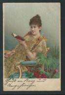 Jeune Femme Lisant Un Livre. Robe Garnie De Paillettes.   2 Scans. - 1900-1949