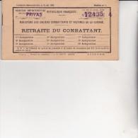LIVRET DE PAIEMENT DE RETRAITE DU COMBATTANT-DIRECTION DEPARTEMENTALE SECTION DE PRIVAS -1955 - Documents
