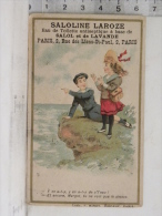 Chromo Image SALOLINE LAROZE - Dentifrices Paris - Lith J. Minot - Enfants Bord De Mer - Margot - Garçon Fillette - Chromos