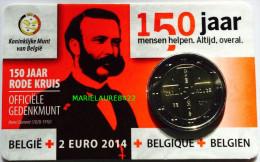 COINCARDE BELGIQUE 2 EURO COMMEMORATIVE 2014 150 Em ANIVERSAIRE DE LA CROIX-ROUGE     NEUF / UNC/ - Belgique
