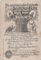 Litho Stich AK Militär Wann Endet Der Weltkrieg ? Mit Kaiser ? Rechnung Deutsche Eiche Baum Einschnitte Feldpost Stempel - Deutschland