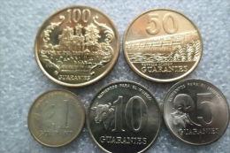 Paraguay 5 Coin  Older  Set : 1 - 100  Guaranies  1990-1995  UNC - Paraguay