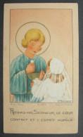 Années 1940 - IMAGE PIEUSE POUR ENFANT Illustration Par ANNE MARIE BOSSAERT Devotie Geboortekaartje HOLY CARD SANTIN - Devotieprenten