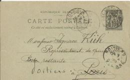 Entier Postal Type Sage 10c Noir - 6-02-1900 - Entiers Postaux