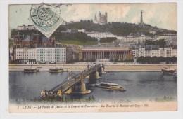 (RECTO / VERSO) LYON EN 1907 - N° 7 - PALAIS DE JUSTICE - PONT - COTEAU DE FOURVIERE - LA TOUR ET RESTAURANT GAY - Lyon