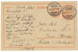 Ganzsache 40 + 85 1922 Orange Gest. Halle - Covers & Documents