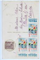 """3 Vignettes """" Pansements TETRA """"  Sur Carte ( Sans Valeur ) De 1939 ( 512 ) - Antituberculeux"""
