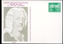 TELEMANN DDR PP16 D2/044 Privat-Postkarte Magdeburg 1981 - Musik