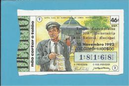 LOTARIA NACIONAL - 46.ª ESP. - 13.11.1992 - CAUTELEIRO - 208.º ANIVERSÁRIO - Portugal - 2 Scans E Description - Billets De Loterie