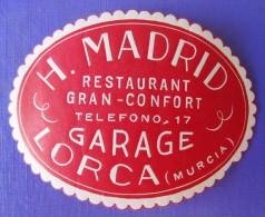 HOTEL RESIDENCIA PENSION HOSTAL MADRID LORCA AGUILAS MURCIA SPAIN LUGGAGE LABEL ETIQUETTE AUFKLEBER DECAL STICKER MADRID - Hotel Labels