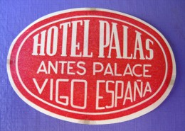 HOTEL RESIDENCIA PENSION HOSTAL PALACE PALAS ESPANA VIGO SPAIN LUGGAGE LABEL ETIQUETTE AUFKLEBER DECAL STICKER MADRID - Hotel Labels