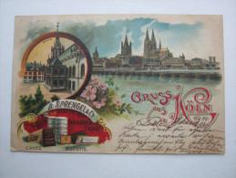 KÖLN ,  Karte  1898 , Mit Marke + Stempel  ,               2 Scans - Köln