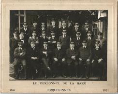 Erquelinnes Le Personnel De La Gare 1921 - Sncb Train Gare 26x21cm - Trains
