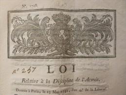 LOI RELATIVE A LA DISCIPLINE DE L ARMEE 1792 - Documents Historiques