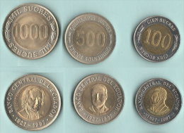 Equador 100 + 500 + 1.000  Sucres 1997  Bimetallici - Ecuador