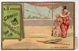 Chromo Système Au Bon Marché Cirque Numéro Dressage Cochon Clown Photographe Appareil Photo Pose Animal Costume Métier - Au Bon Marché