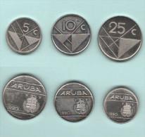 Aruba Lotto 5 +10 + 25 Centesimi 1990 - Monete