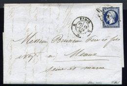 Lettre De Paris Pour Meaux 18 Juin 1856 - Bleu Très Foncé - 1849-1876: Période Classique