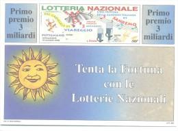 CARTOLINA DELLA LOTTERIA CARNEVALE VIAREGGIO PUTIGNANO SANREMO ANNO 1998  NUOVA PERFETTA - Loterijbiljetten