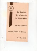 Nov14  66377    Menu   La Confrérie Des Chevaliers Du Goûte Boudin   Mortagne - Menus