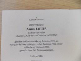 Doodsprentje Anna Louis Oostrozebeke 1/10/1916 Heule 16/3/2002 ( D.v. Charles En Christina Janssens ) - Religione & Esoterismo