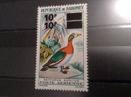 Dahomey Bénin 1969 Aériens  Yv.111 VARIÉTÉ DOUBLE SURCH. SIGNÉ RR Oiseaux Sarcelle De Madagascar Birds Nettapus Auritus