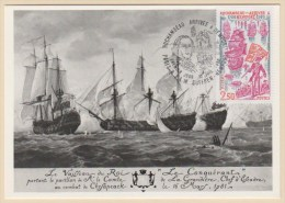 Carte Maxi Rochambeau Arrivée à Newport 12.7.1980 Paris & F.L.M. Suffren -Newport Premier Jour - Cartes-Maximum