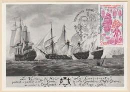 Carte Maxi Rochambeau Arrivée à Newport 12.7.1980 Paris & F.L.M. Suffren -Newport Premier Jour - Maximumkarten