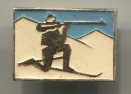 Biathlon -  Russia, Vintage Pin, Badge - Biathlon
