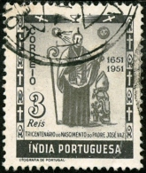 INDIA PORTOGHESE, PORTUGUESE INDIA, COMMEMORATIVO, JOSE VAZ, 1951, FRANCOBOLLO USATO, Scott 509 - India Portoghese