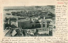 CARTOLINA D'EPOCA DI GENOVA BEL PANORAMA SULLA CITTA' E IL PORTO COM'ERANO INIZI 900 VIAGGIATA NEL 1911 - Genova (Genoa)