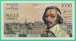 France -  1000 Francs -  Richelieu - N°.o.4 / 65666 - B.3-9-1953.B. - TTB+ - 1871-1952 Antichi Franchi Circolanti Nel XX Secolo